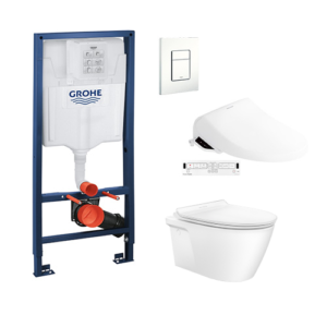 Acacia SupaSleek CL31197 Wall Hung WC+Grohe Concealed Cistern+Grohe flush plates+E-Bidet Promotion